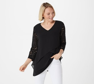 Susan Graver Liquid Knit Tunic with Chiffon Tiers & Lace Sleeves