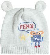Fendi Embroidered Cotton Knit Hat With Ears
