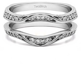Twobirch Brilliant Moissanite Mounted in Sterling Silver Classic Style Contour Ring Guard Enhancer Wedding Band (0.35ctw)