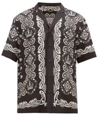 Dolce & Gabbana Bandana-print Cuban-collar Silk-faille Shirt - Black White