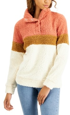 Planet Gold Juniors' Colorblock Fuzzy Sherpa Pullover