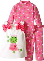Bonnie Baby Baby-Girls Princess Frog Appliqued Fleece Legging Set