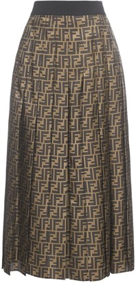 Fendi FF Motif Pleated Midi Skirt