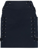 Derek Lam 10 Crosby Lace-Up Stretch-Twill Cotton-Blend Mini Skirt