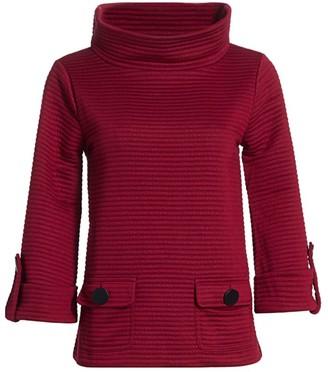 Joan Vass Petite Ottoman High-Neck Rib-Knit Pullover