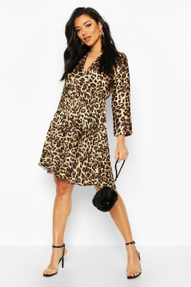 boohoo Leopard Print Pleated Skater Dress