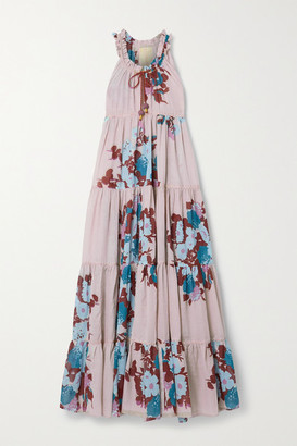 Yvonne S Hippy Tiered Floral-print Cotton-voile Maxi Dress - Taupe