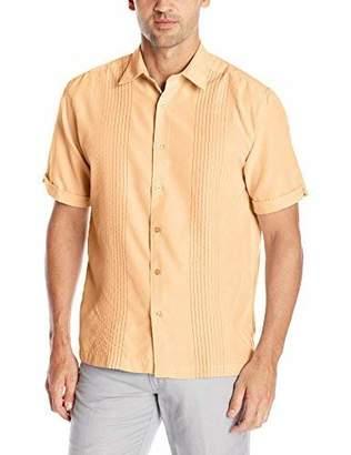 Cubavera Men's Short Sleeve Point-Collar Embroidered-Panel Button-Down Shirt