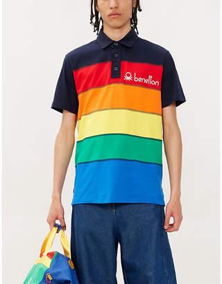 Benetton Logo-embroidered striped cotton-jersey polo shirt