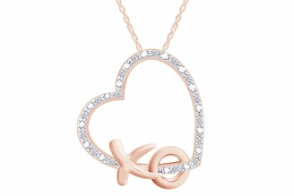 "Xo Aria Jewels Diamond Accent Heart Pendant Necklace in 14k Yellow Gold Plated Sterling Silver w/ 18"" Chain (1/20cttw)"