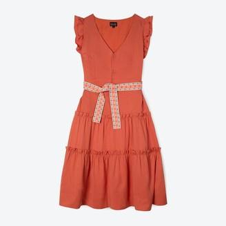 Lowie Apricot Lyocell Ruffle Dress - S