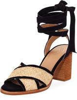 Bettye Sabrina Strappy Suede-Trim Sandal, Black Pattern
