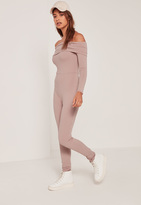 Missguided Pink Fold Over Bardot Ribbed Romper