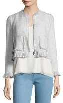 Rebecca Taylor Fringe-Trim Suiting Jacket, Gray Multicolor