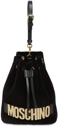 Moschino CRYSTAL LOGO VELVET BUCKET BAG