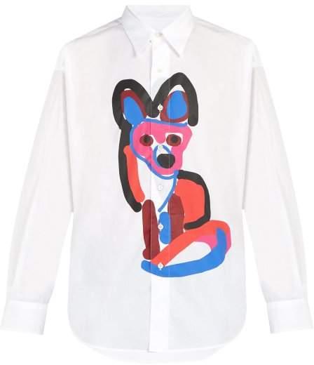 MAISON KITSUNÉ Acide Fox Print Cotton Shirt - Mens - White Multi