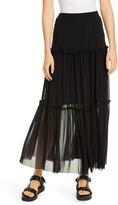 Fuzzi Tiered Mesh Maxi Skirt