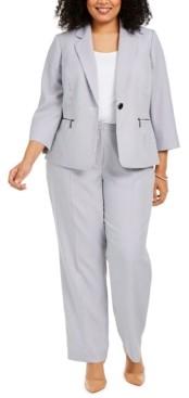 Le Suit Plus Size Pinstripe Pantsuit