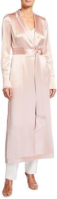 Galvan Callisto Satin Belted Coat Dress