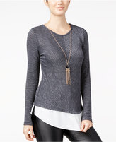 Amy Byer Juniors' Striped Split-Back Layered-Look Top with Necklace