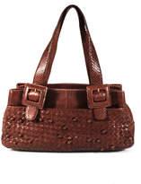 Perlina Brown Embossed Woven Leather Buckle Details Shoulder Bag Handbag