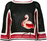 RED Valentino knit flamingo top - women - Cotton/Acrylic/Wool - XS