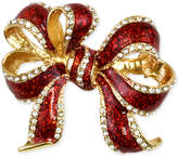 Charter Club Holiday Lane Gold-Tone Pavé Bow Brooch, Created for Macy's