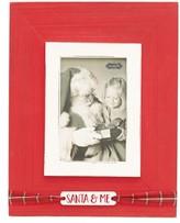 Mud Pie Infant Santa & Me Tartan Ribbon Wood Photo Frame