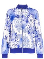 Quiz White And Blue Crepe Flower Print Bomber Jacket