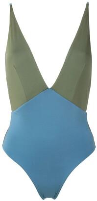 ESC panelled V-back swimsuit