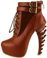 Show Story Lace Up Buckle High-top Bone High Heel Platform Ankle Boots,LF40601BR39,8US