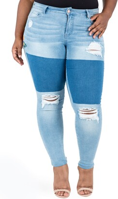 Poetic Justice Madison Ripped & Embroidered Skinny Jeans