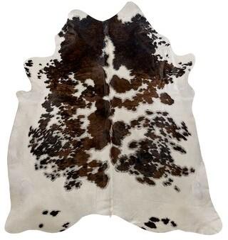 Saddlemans Handmade Cowhide Brown/White Rug Rug Size: Novelty 6' x 6'