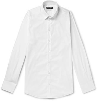 Dolce & Gabbana White Slim-Fit Cotton-Blend Poplin Shirt - Men