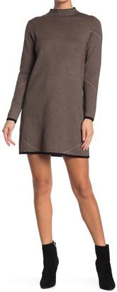 Max Studio Patterned Mock Neck Shift Sweater Dress