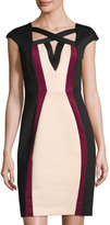 Jax Colorblock Cap-Sleeve Sheath Dress, Beige