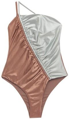 Isa Boulder Leonard Asymmetric Bi-colour Swimsuit - Brown Multi
