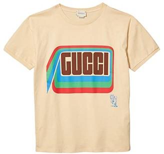 Gucci Kids Cotton Jersey w/ Gucci Print T-Shirt (Little Kids/Big Kids) (Sweet Cream/Mix) Kid's Clothing