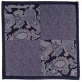 Black Liscia Blue and Grey Cotton Italian Pocket Square