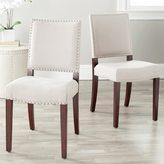 Safavieh En Vogue Dining Madison Nailhead Cream Linen Side Chairs (Set of 2)