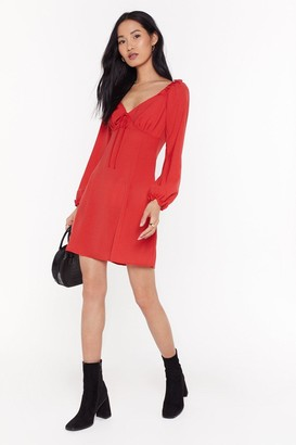Nasty Gal Womens Straight From the Shoulder Fit & Flare Dress - red - 6