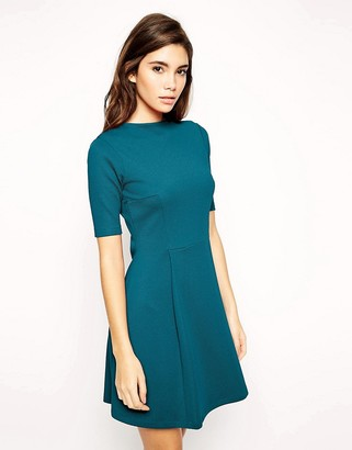 Asos Funnel Neck Textured Skater Dress