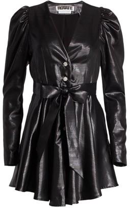 Rotate by Birger Christensen Emma Puff-Sleeve Leatherette Mini Dress