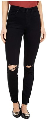 Paige Hoxton Ankle w/ Outseam Slit + Raw Hem in Black Dawn Destructed (Black Dawn Destructed) Women's Jeans