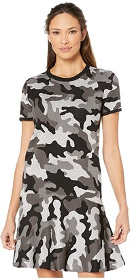 MICHAEL Michael Kors Grand Camo Crew Short Sleeve Dress (Gunmetal) Women's Clothing