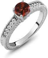 Gem Stone King 1.10 Ct Round Red Garnet White Sapphire 18K White Gold Engagement Ring