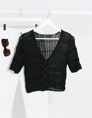 ASOS DESIGN cardigan with short sleeve in black