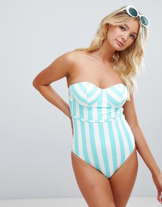 Figleaves Fuller Bust Stripe UW Bandeau Swimsuit with tummy control