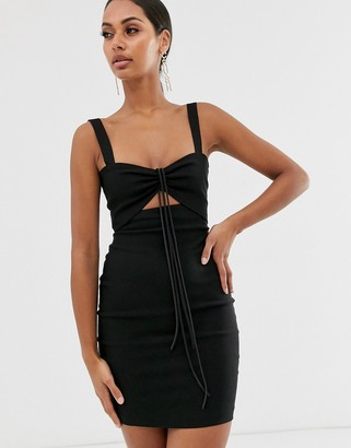 Vesper sexy mini dress with rusched front in black