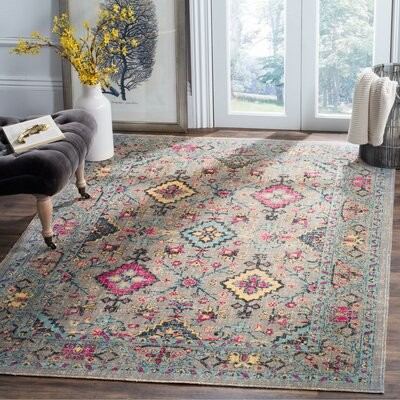 Bungalow Rose Villanova Power Loom Gray Blue Rug Rug Size Rectangle 5 1 X 7 6 Shopstyle